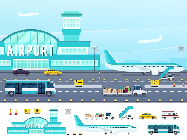 Ilustración de estilo plano de aeropuerto vector gratuito