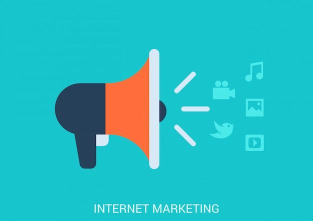 Ilustración de estilo plano de concepto de marketing en línea de internet. icono de altavoz que difunde contenido multimedia de transmisión. Vector Premium