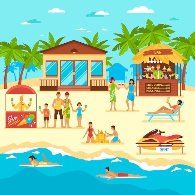 Ilustración de estilo plano de playa vector gratuito