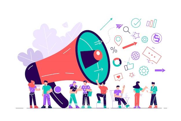 Ilustración, estilo plano, promoción empresarial, publicidad, llamada a través del claxon. ilustración de diseño moderno de estilo plano para página web, tarjetas, póster, redes sociales Vector Premium
