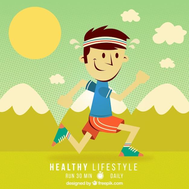 Ilustración De Estilo De Vida Saludable En Estilo De Dibujos Animados