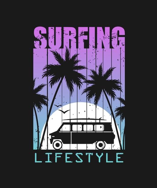 Ilustración de estilo de vida de surf Vector Premium