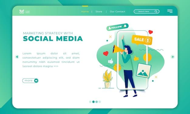 Ilustración de la estrategia de marketing con las redes sociales en la plantilla de página de destino Vector Premium