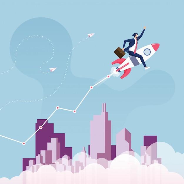 Ilustración de éxito de inicio y crecimiento Vector Premium
