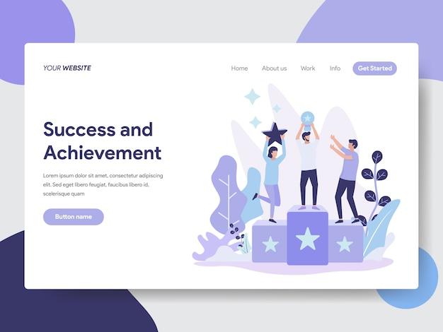 Ilustración de éxito y logros para la página web Vector Premium