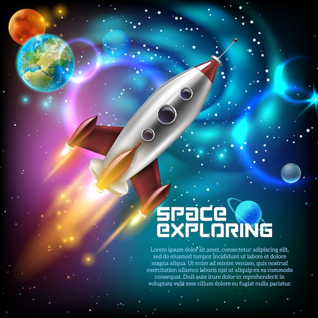 Ilustración de la exploración espacial vector gratuito