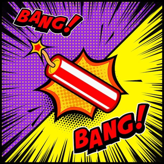 Ilustración de explosión de dinamita de estilo cómico. elemento para cartel, pancarta, folleto. ilustración Vector Premium