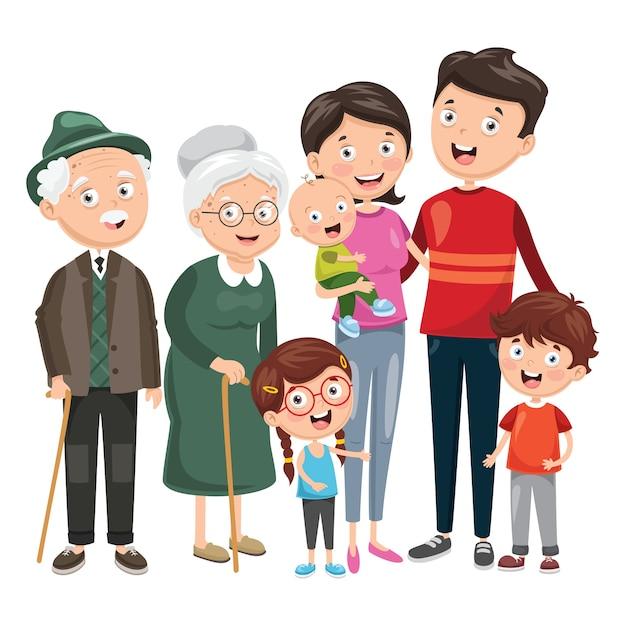 Ilustración de la familia feliz Vector Premium