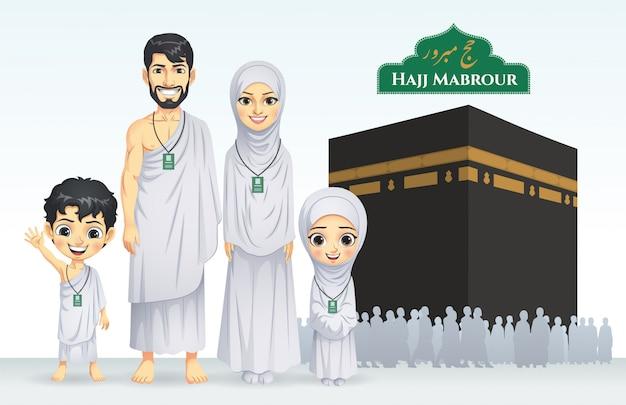 Ilustración de la familia hajj y umrah Vector Premium