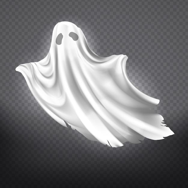 Ilustración del fantasma blanco, silueta fantasma aislada sobre fondo transparente. vector gratuito