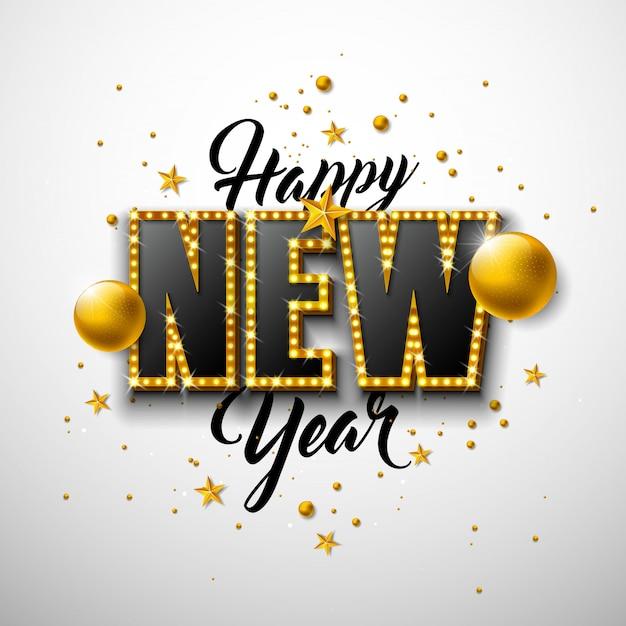 Ilustración de feliz año nuevo 2020 con letras de tipografía 3d y bola de navidad sobre fondo blanco. vector gratuito