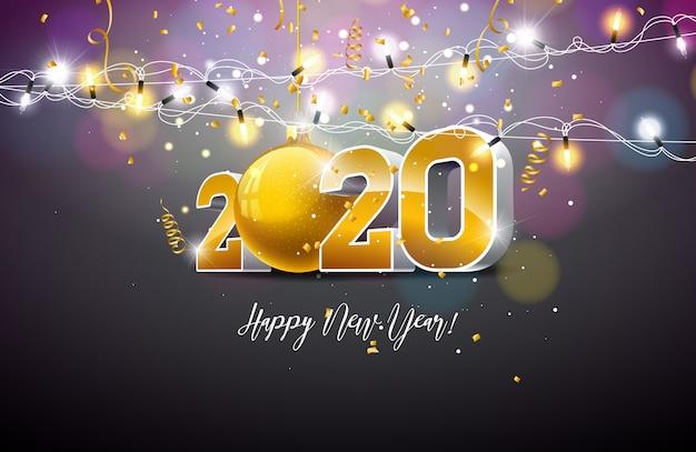 Ilustración de feliz año nuevo 2020 con número de oro 3d, bola de navidad y guirnalda de luces sobre fondo oscuro. vector gratuito