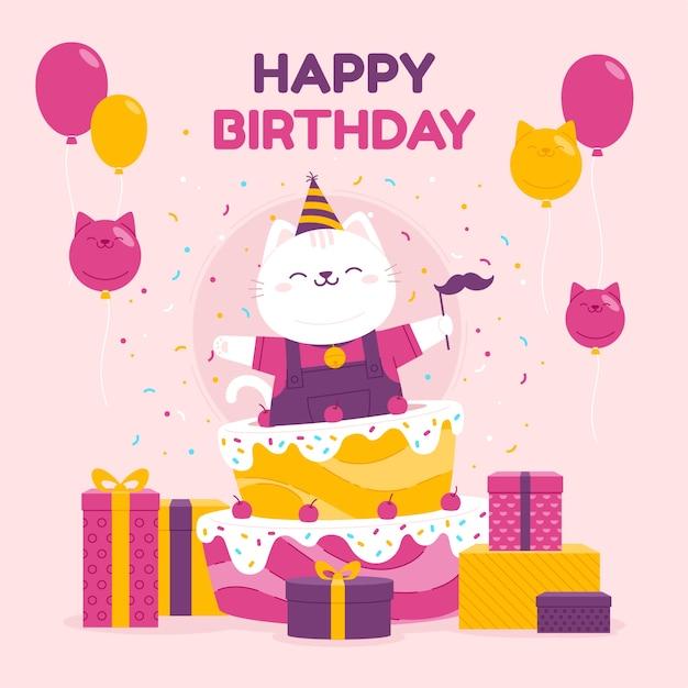 Ilustración de feliz cumpleaños con pastel vector gratuito