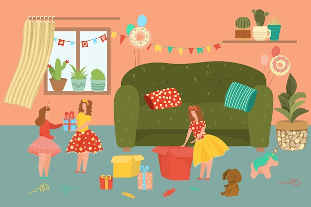 Ilustración de feliz cumpleaños. personajes de niñas gemelas celebrando la fecha de nacimiento en el interior de la casa, recibiendo y desempacando regalos de amigos. personas en el fondo de la celebración de fiestas Vector Premium