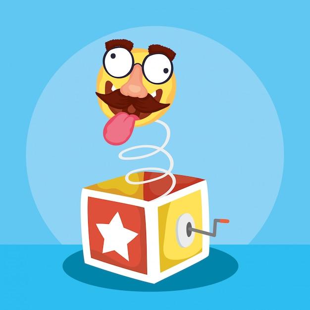 Ilustración feliz del día de los inocentes con caja sorpresa y emoji loco Vector Premium