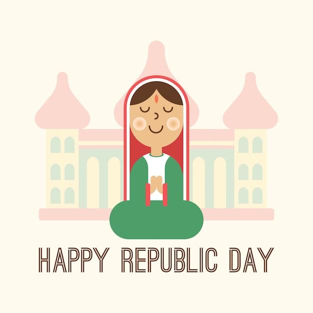 Ilustración feliz del día de la república de india Vector Premium