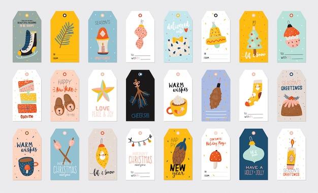 Ilustración de feliz navidad o feliz año nuevo con letras de vacaciones y elementos tradicionales de invierno. plantilla de etiqueta, banner, etiquetas o pegatinas de papel lindo en estilo escandinavo. Vector Premium