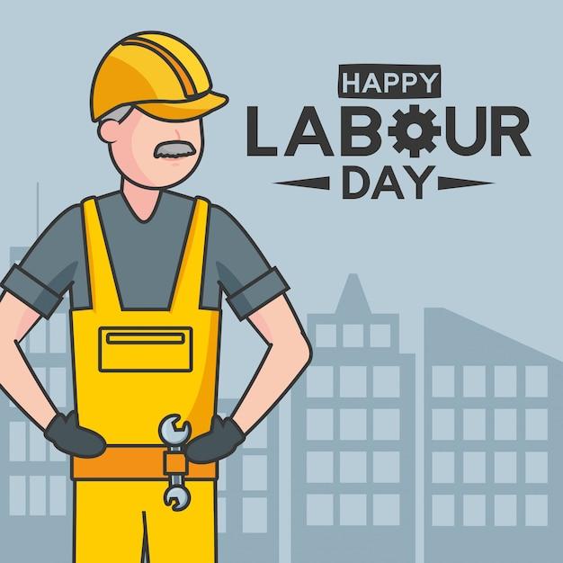 Ilustración feliz del trabajador del día del trabajo vector gratuito