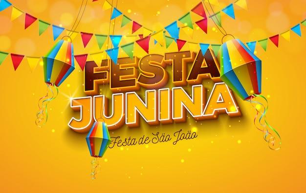 Ilustración de festa junina con banderas de fiesta, linterna de papel y carta 3d sobre fondo amarillo. diseño de festival de junio de brasil para tarjeta de felicitación, invitación o póster de vacaciones. vector gratuito