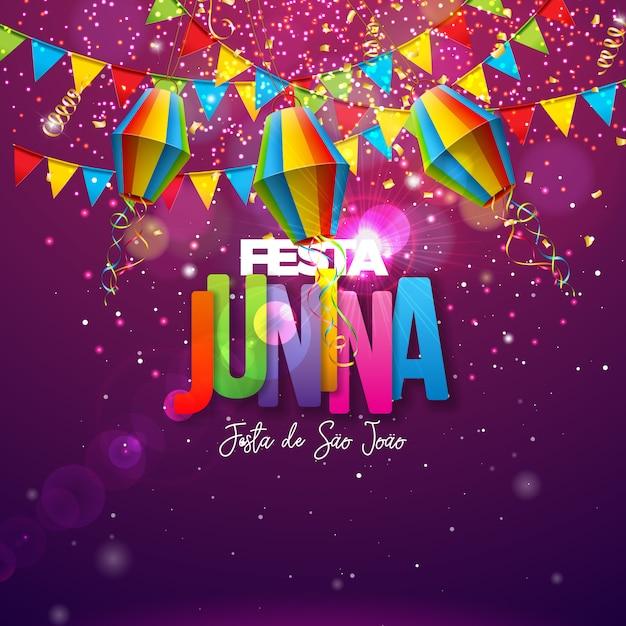 Ilustración de festa junina con banderas de fiesta, linterna de papel y letra colorida sobre fondo brillante. diseño de festival de junio de brasil para tarjeta de felicitación, invitación o póster de vacaciones. vector gratuito