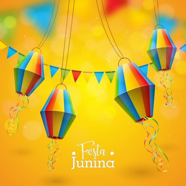 Ilustración de festa junina con banderas de fiesta y linterna de papel sobre fondo amarillo. Vector Premium