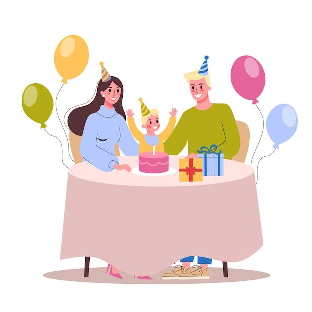 Ilustración de la fiesta de cumpleaños infantil. familia feliz celebra un cumpleaños. Vector Premium