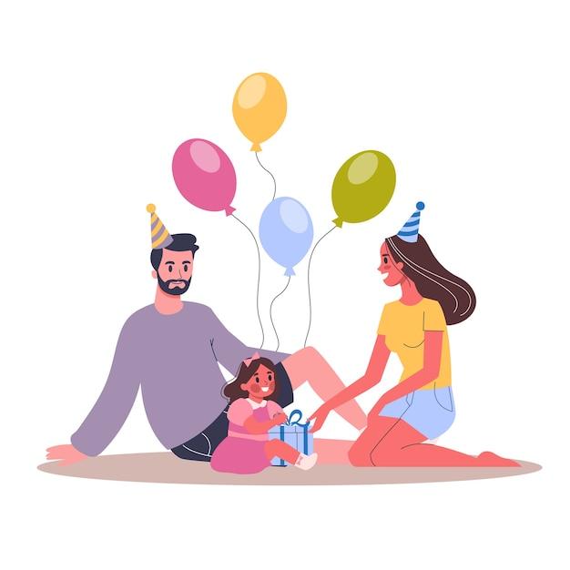 Ilustración de la fiesta de cumpleaños infantil. los padres felicitan a sus hijos. familia feliz celebra un cumpleaños. Vector Premium