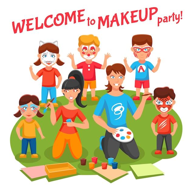 Ilustración de fiesta de maquillaje vector gratuito