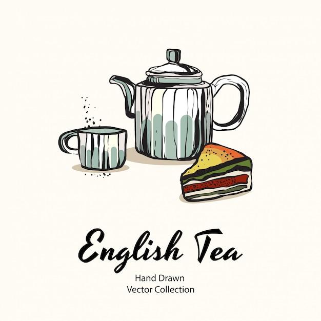 Ilustración de la fiesta del té Vector Premium