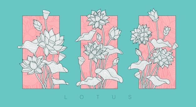 Ilustración de flor de loto Vector Premium