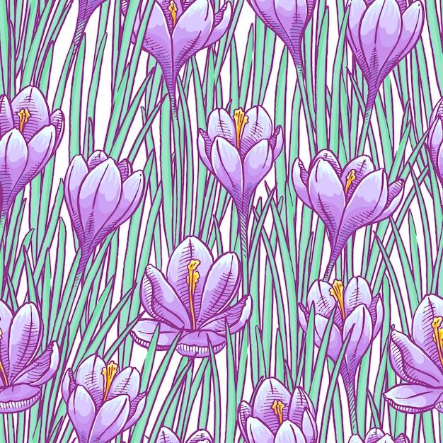 Ilustración floral de patrones sin fisuras Vector Premium