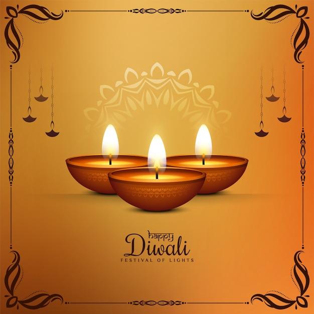 Ilustración del fondo del festival happy diwali con lámparas vector gratuito