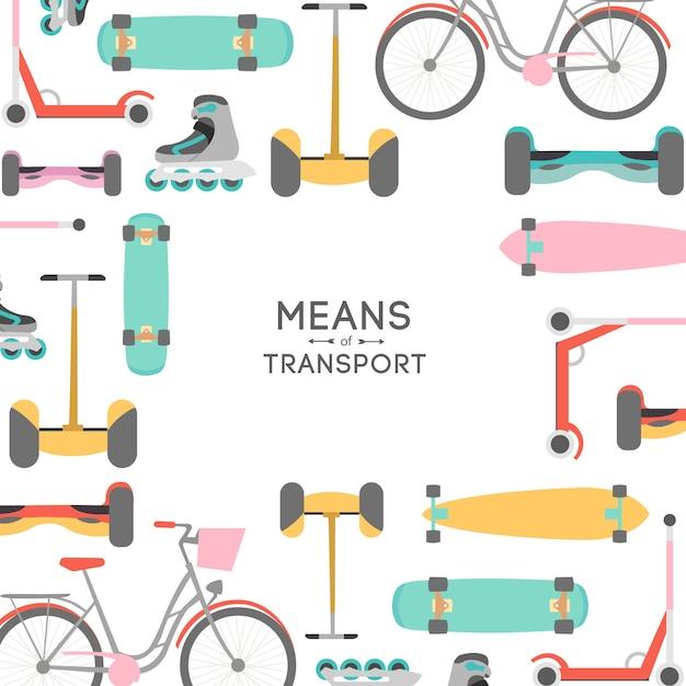 Ilustración de fondo de medios de transporte con área de texto vector gratuito