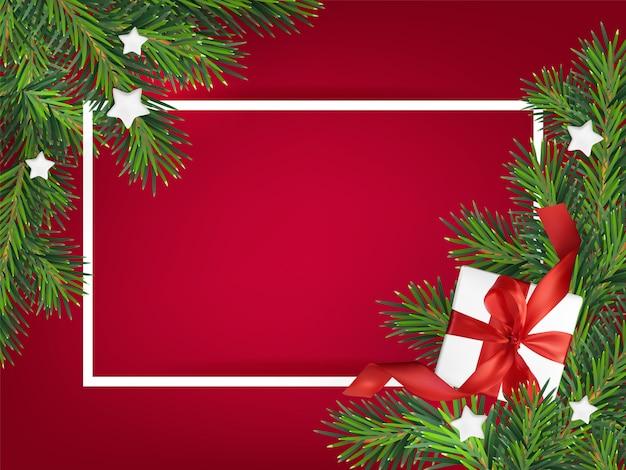 Ilustración de fondo rojo de feliz navidad, con una caja de regalo de malla Vector Premium
