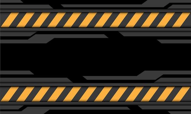Ilustración de fondo de tecnología futurista moderna símbolo de precaución de línea amarilla cibernética negra gris abstracta. Vector Premium