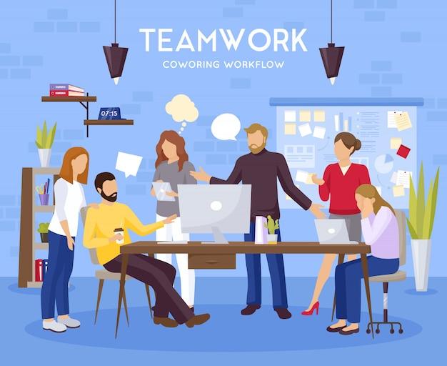 Ilustración de fondo de trabajo en equipo vector gratuito