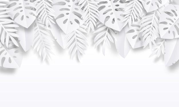 Ilustración de fondo tropical de corte de papel Vector Premium