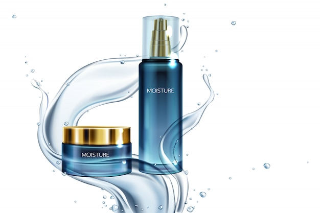 Ilustración con frasco de vidrio de cosméticos con tapa de oro, loción en salpicaduras de agua. vector gratuito