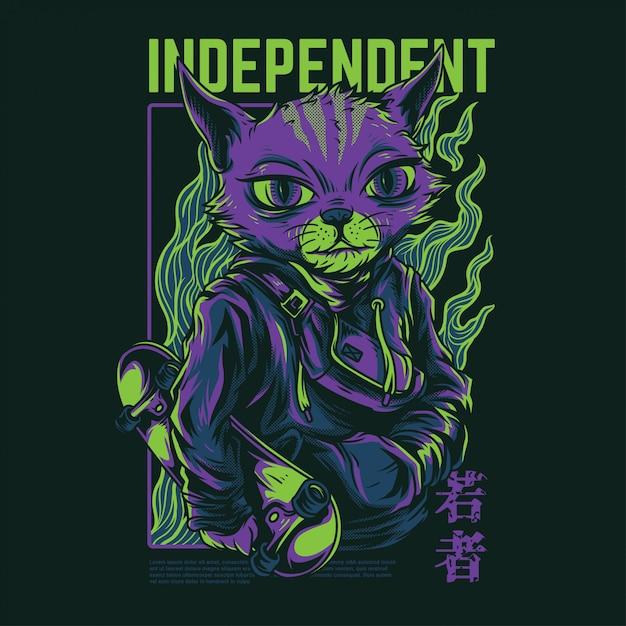 Ilustración de gato independiente Vector Premium