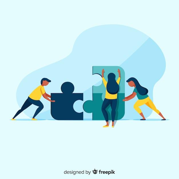Ilustración gente conectando piezas de puzzle vector gratuito