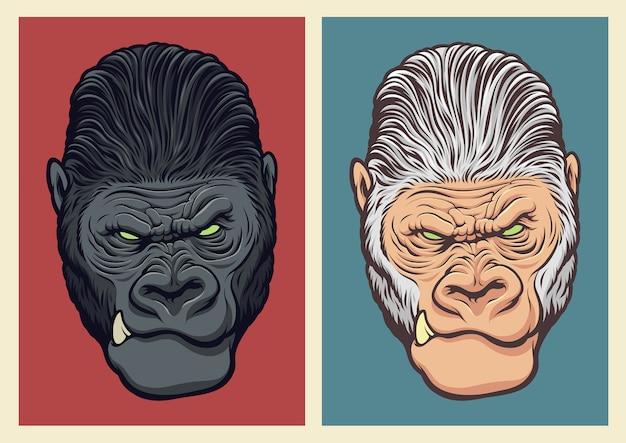 Ilustración de gorila albino Vector Premium