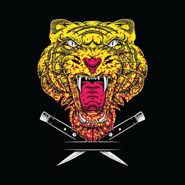 Ilustración gráfica animal tigre Vector Premium