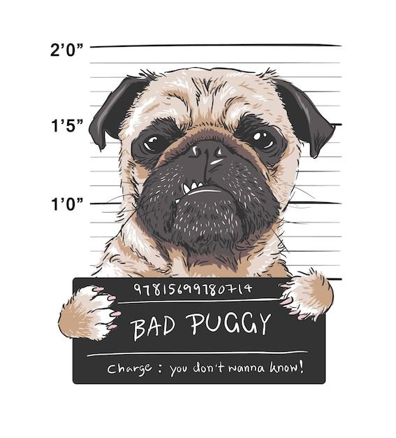 Ilustración gráfica de enojado perro pug prisionero Vector Premium