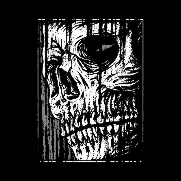 Ilustración gráfica de terror de cráneo Vector Premium