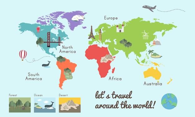 Ilustración gráfica de la ubicación del mapa del continente mundial vector gratuito