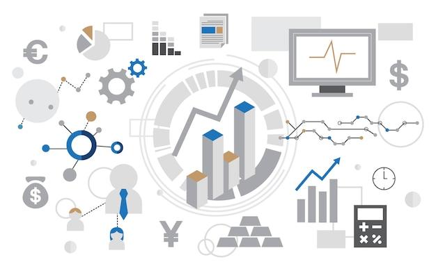 Ilustración del gráfico de análisis de datos vector gratuito