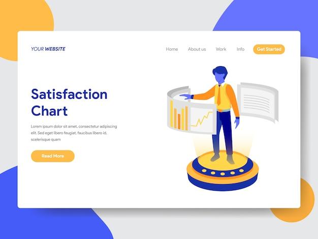 Ilustración de gráfico de satisfacción para página web Vector Premium
