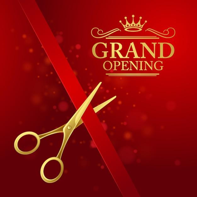 Ilustración de gran inauguración con cinta roja y tijeras doradas Vector Premium