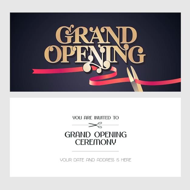 Ilustración de gran inauguración, fondo, tarjeta de invitación. banner de plantilla, invitación para evento de apertura Vector Premium
