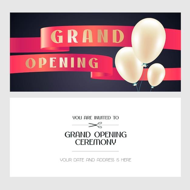 Ilustración de gran inauguración, tarjeta de invitación con globos de aire para nueva tienda. banner de plantilla, invitación para el evento de apertura, ceremonia de corte de cinta roja Vector Premium